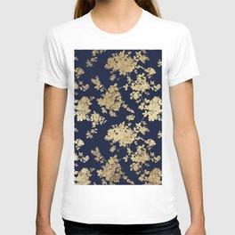 Elegant vintage navy blue faux gold flowers T-shirt