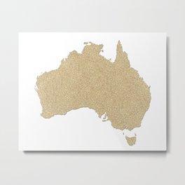 Map of Australia in gold glitter Metal Print
