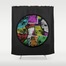 Pastel Porthole - Abstract, geometric, textured, pastel coloured artwork Shower Curtain