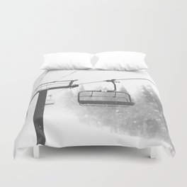 Chairlift Abyss // Black and White Chair Lift Ride to the Top Colorado Mountain Artwork Duvet Cover