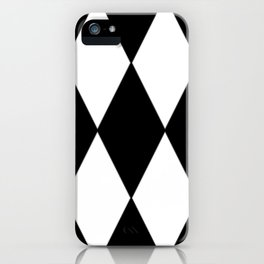 LARGE BLACK AND WHITE HARLEQUIN DIAMOND PATTERN iPhone Case