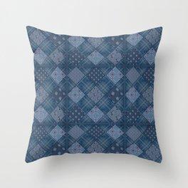 Seamless jeans denim patchwork pattern background Throw Pillow