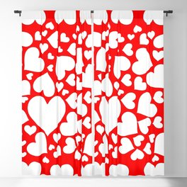 WHITE VALENTINE HEARTS ON RED Blackout Curtain