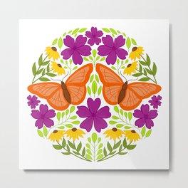 Butterfly Folk Art // Hand Drawn Butterfly, Geraniums, and Black Eyed Susan // Ohio Wildlife Art Metal Print