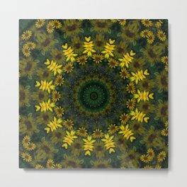 Large Yellow Wildflower Kaleidoscope Art 9 Metal Print