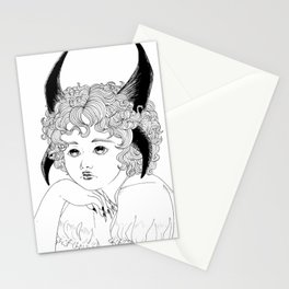 Demon black and white Stationery Cards