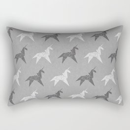 Origami Unicorn Grey Rectangular Pillow