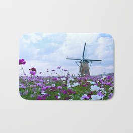 Windmill and Tulips Bath Mat