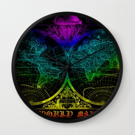 world map old vintage Wall Clock