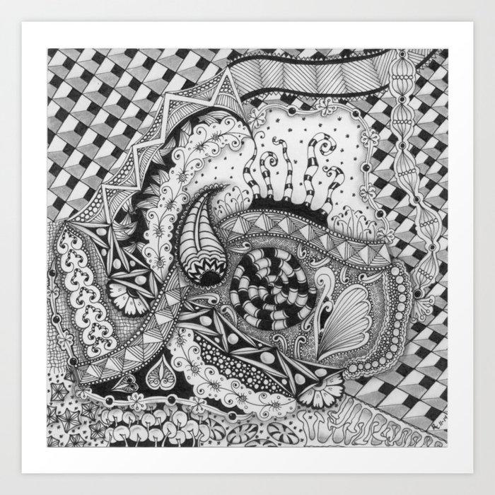 Zentangle®-Inspired Art - ZIA 22 Art Print