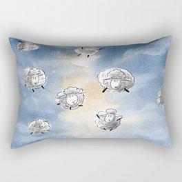 Digital Sheep in a Watercolor Sky Rectangular Pillow