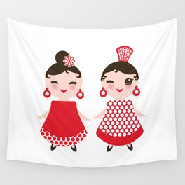 Spanish Woman flamenco dancer. Kawaii cute face with pink cheeks and winking eyes. Gipsy girl Wall Tapestry