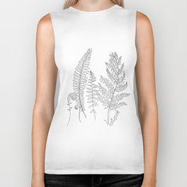 Minimal Line Art Fern Leaves Biker Tank