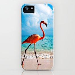 Amazing Awesome Pink Flamingo Walking Along Beach Ultra HD iPhone Case
