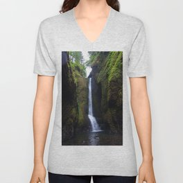 Lower Oneonta Falls, Oneonta Gorge, Oregon Unisex V-Neck