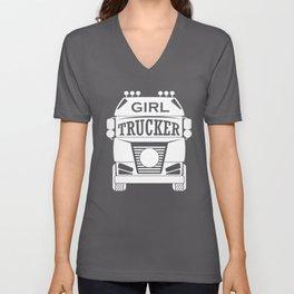 Trucker Girl Truck Driver Semi Unisex V-Neck