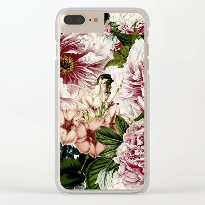 Vintage Peony and Ipomea Pattern - Smelling Dreams on #Society6 Clear iPhone Case