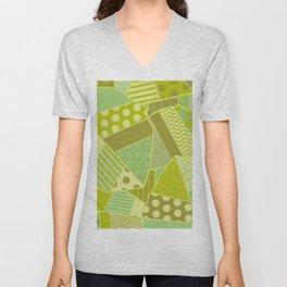 Graphic Leaf Patchwork (Spring Green Bold Colors) Unisex V-Neck
