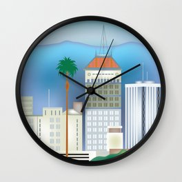 Fresno, California - Skyline Illustration by Loose Petals Wall Clock