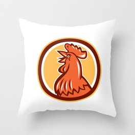 Chicken Rooster Head Crowing Circle Retro Throw Pillow