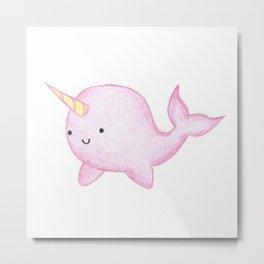 Cute Pink Narwhal Metal Print