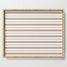 Pantone Hazelnut and White Stripes, Wide and Narrow Horizontal Line Pattern Serving Tray