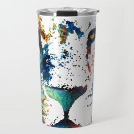 Colorful Lion Art By Sharon Cummings Travel Mug