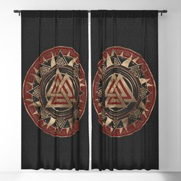 Valknut Symbol Black and Red Leather and gold Blackout Curtain