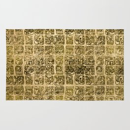 Mayan and aztec glyphs gold on vintage texture Rug