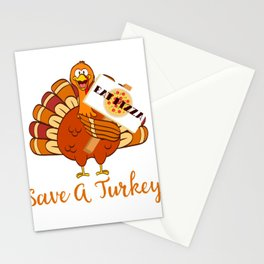 Thanksgiving Save A Turkey Awareness Eat More Cheesy Pepperoni Pizza T-shirt Design Friendsgiving Stationery Cards