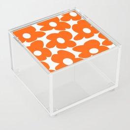 Orange Retro Flowers White Background #decor #society6 #buyart Acrylic Box