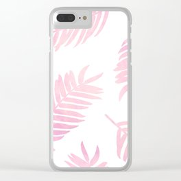 Pink Palm Leaves  |  White Background Clear iPhone Case