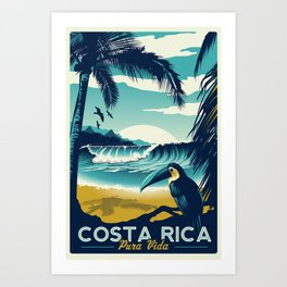 Costa Rica Retro Vintage Travel Poster Toucan Wave Surf Palm Trees Art Print