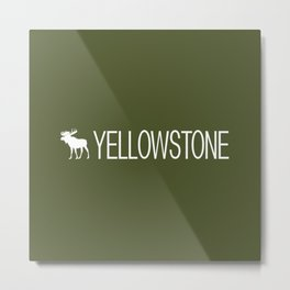 Yellowstone National Park: Moose (Green) Metal Print