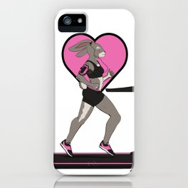 Animal Workouts: Treadmill Bunny iPhone Case