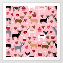 Chihuahua cute love hearts dog breed custom pet portraits dog lover valentines day gifts Art Print