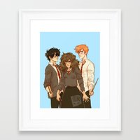 johannathemad Framed Art Prints featuring golden trio by JohannaTheMad