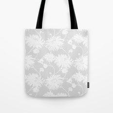 White Floral Poms Tote Bag