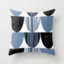 Scallop Pattern in Blue and Black Throw Pillow