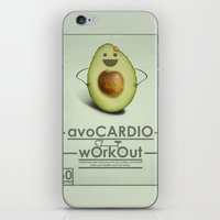 workout iPhone & iPod Skins featuring avoCARDIO workout by JosephMills