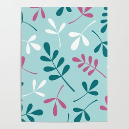 Assorted Leaf Silhouettes Teals Pink White Poster