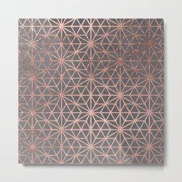 Modern rose gold stars geometric pattern Christmas grey graphite concrete industrial cement Metal Print