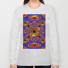 GOLD SUNFLOWERS & ROYAL BLUE PATTERN ART Long Sleeve T-shirt