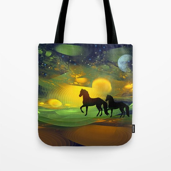 Awakening, Mysterious mixed media art with horses Tote Bag