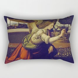"Leonardo da Vinci ""Annunciation"" The Archangel Gabriel Rectangular Pillow"