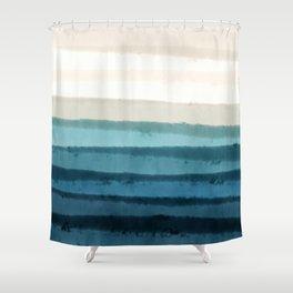 Playful Pacific Ocean waves_Blue Utopia & Khaki palette _watercolor color block Shower Curtain