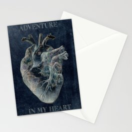 adventure heart-world map 4 Stationery Cards