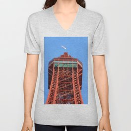 Top Of Blackpool Tower On A Blue Sky Day  Unisex V-Neck
