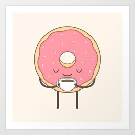 donut loves coffee Art Print