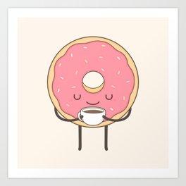 donut loves coffee Art Print